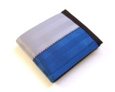 Billfold wallet in blue and silver.